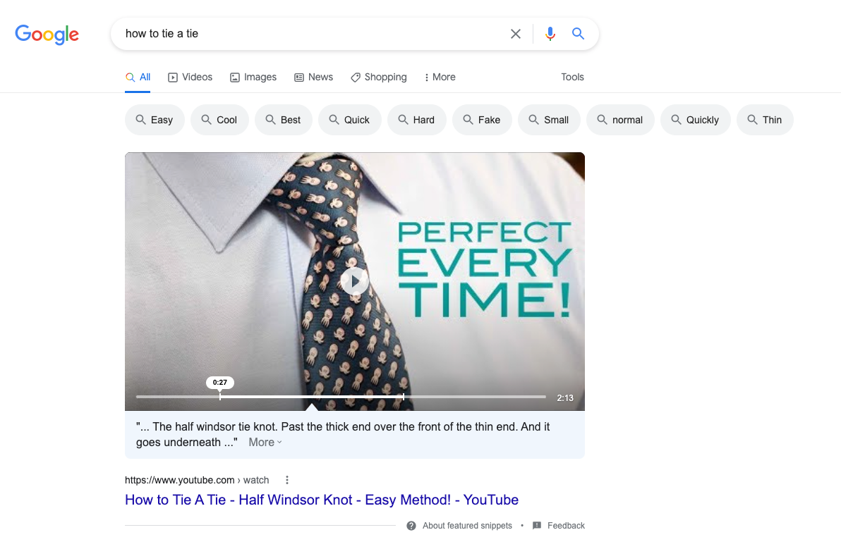 YouTube How To Content How to Tie A Tie Video