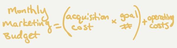Monthly marketing budget = (marketing goal acquisition cost × marketing goal #) + marketing operating costs