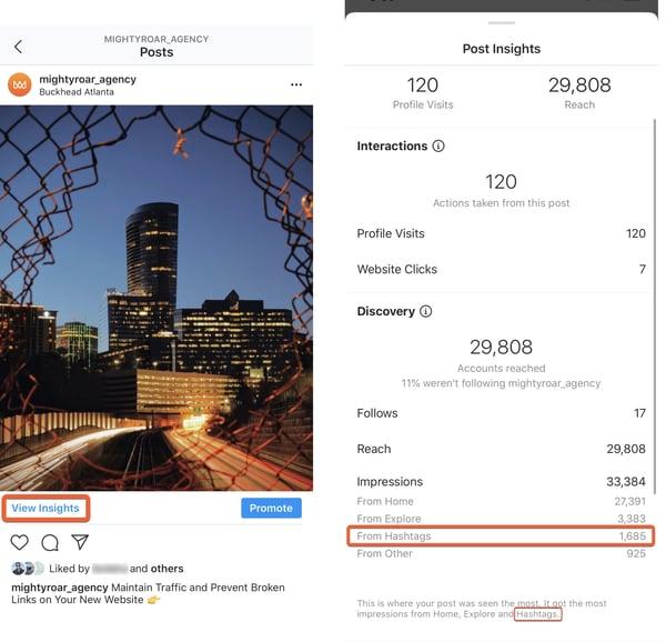 Instagram Insights | Traffic From Hashtags | Digital Agency | Mighty Roar