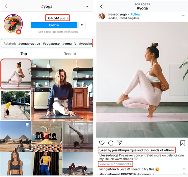 How to Use Hashtags on Instagram | Yoga Hashtag Volume Example